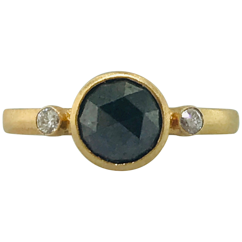 1 Carat Rose Cut Black Diamond and White Side Diamond Satin Custom Ring