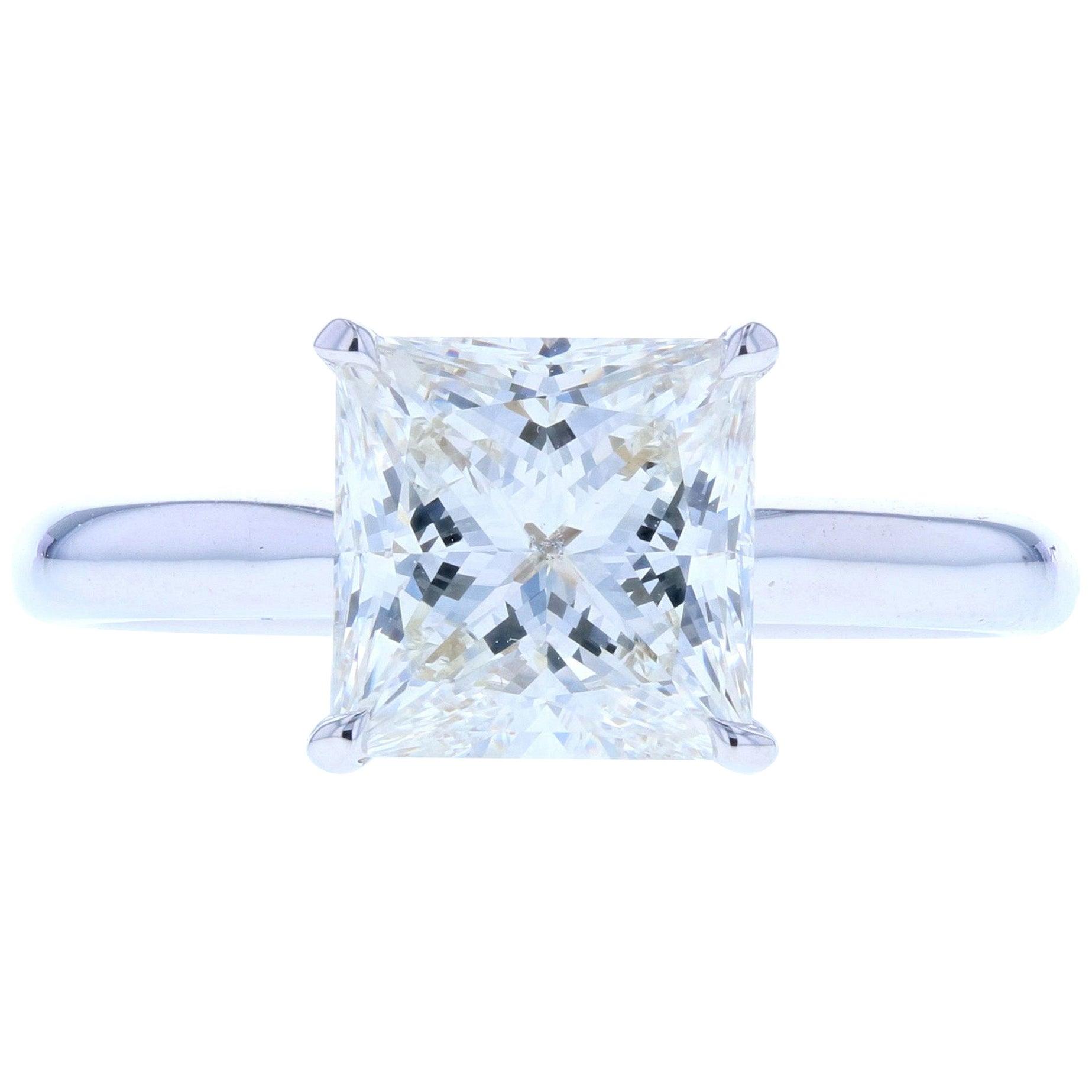 Classic Princess Cut Diamond Four Prong Solitaire Engagement Ring