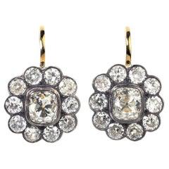 Julius Cohen Old Mine Cut Diamond Cluster Earrings