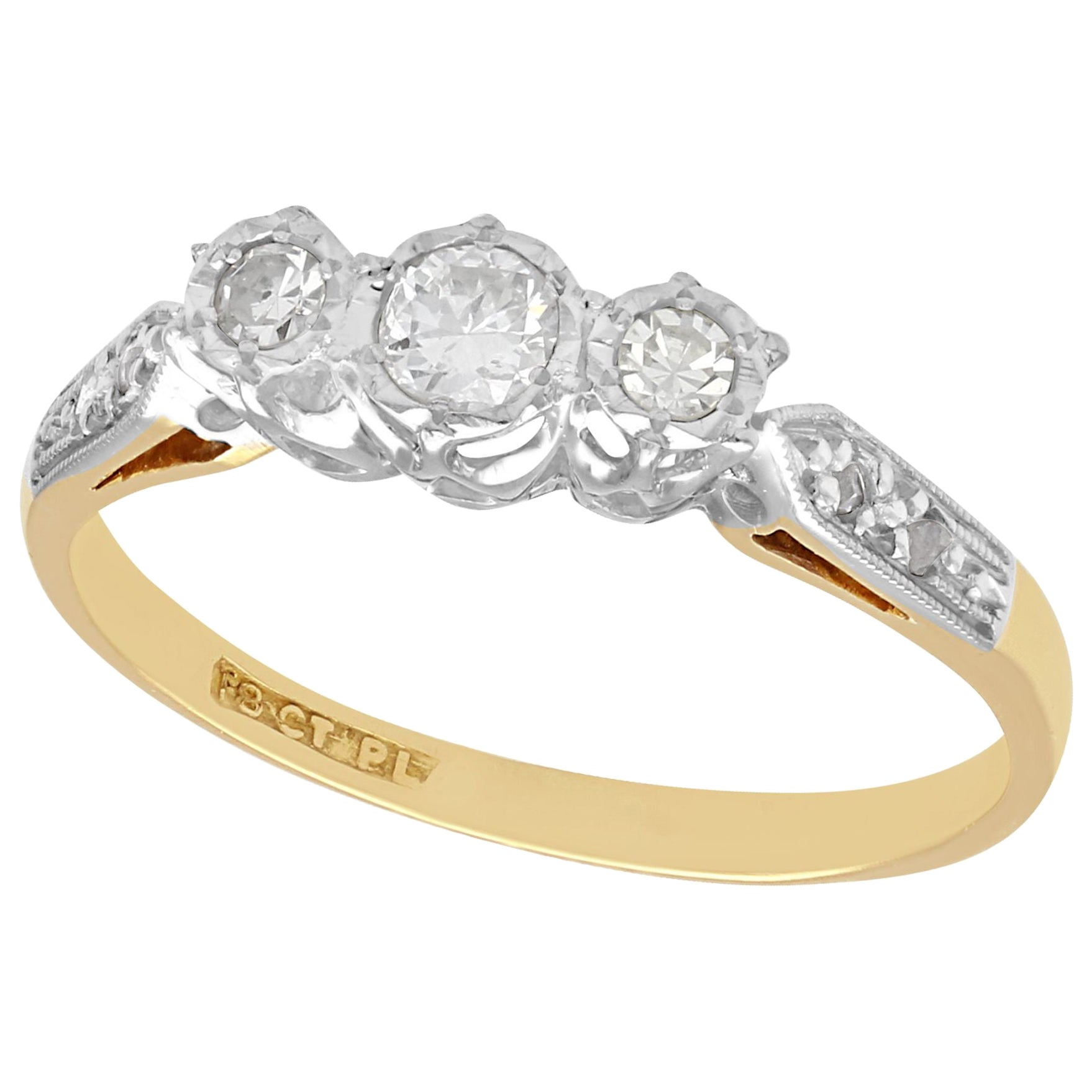 1940s Vintage Diamond and Yellow Gold Trilogy Ring