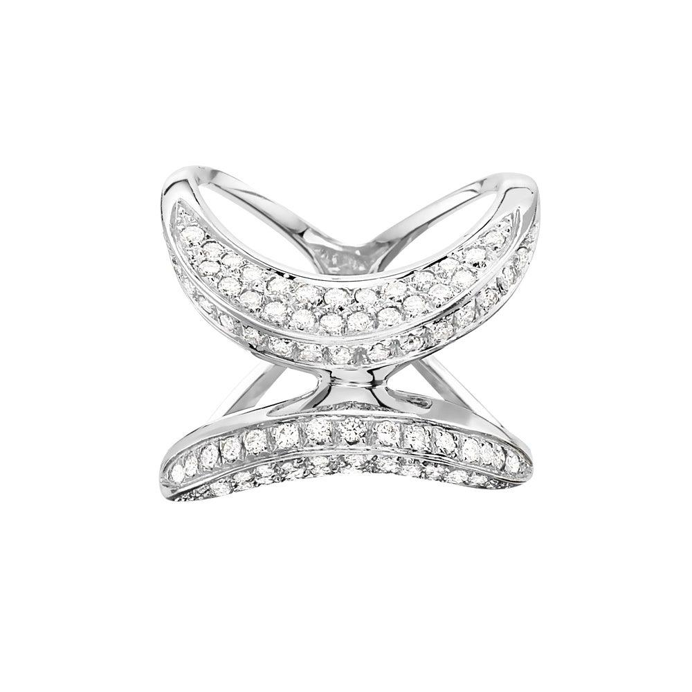 18 Karat White Gold Pave Diamond X Cocktail Ring