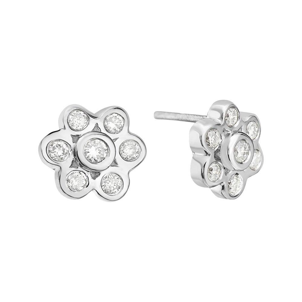 18 Karat White Gold Diamond Flower Stud Earrings