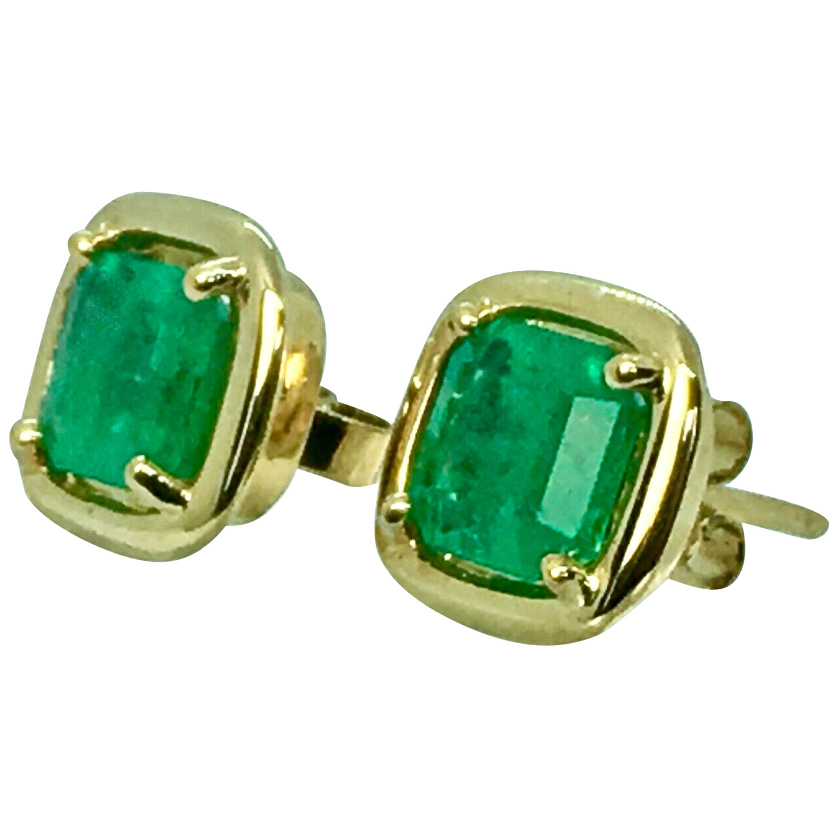Square Colombian Emerald Earrings 18 Karat