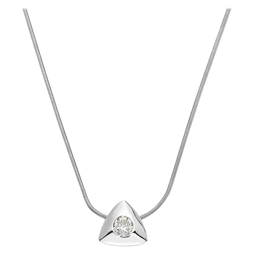 14 Karat White Gold Triangle Diamond Pendant Necklace