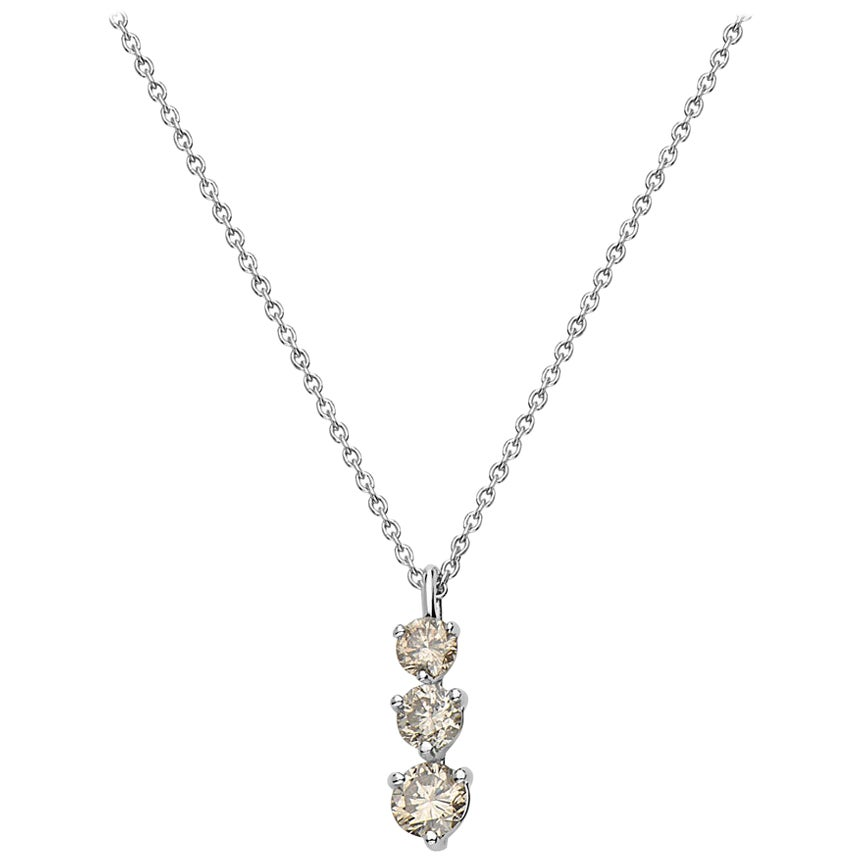 14 Karat White Gold 3-Stone Diamond Pendant Necklace