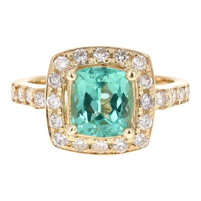 3.20 Carat Cushion Cut Apatite Diamond 14 Karat Yellow Gold Engagement Ring
