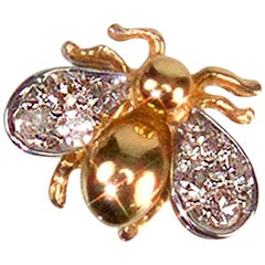 Diamond Gold Fly Brooch Pin Estate Fine Jewelry
