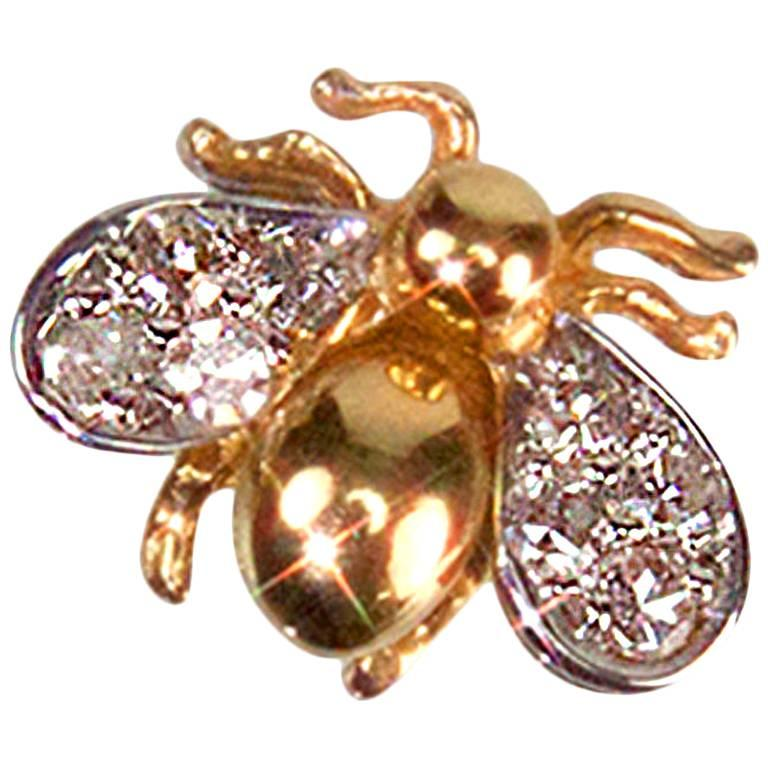 Diamond Gold Fly Brooch Pin Estate Fine Jewelry For Sale