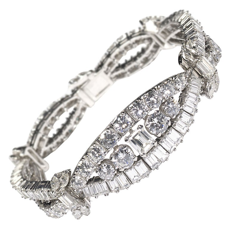 Vintage Diamond and Platinum Bracelet Circa 1960