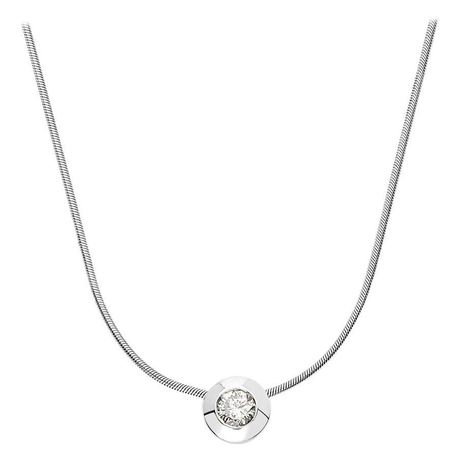 14 Karat White Gold Round Diamond Pendant Necklace