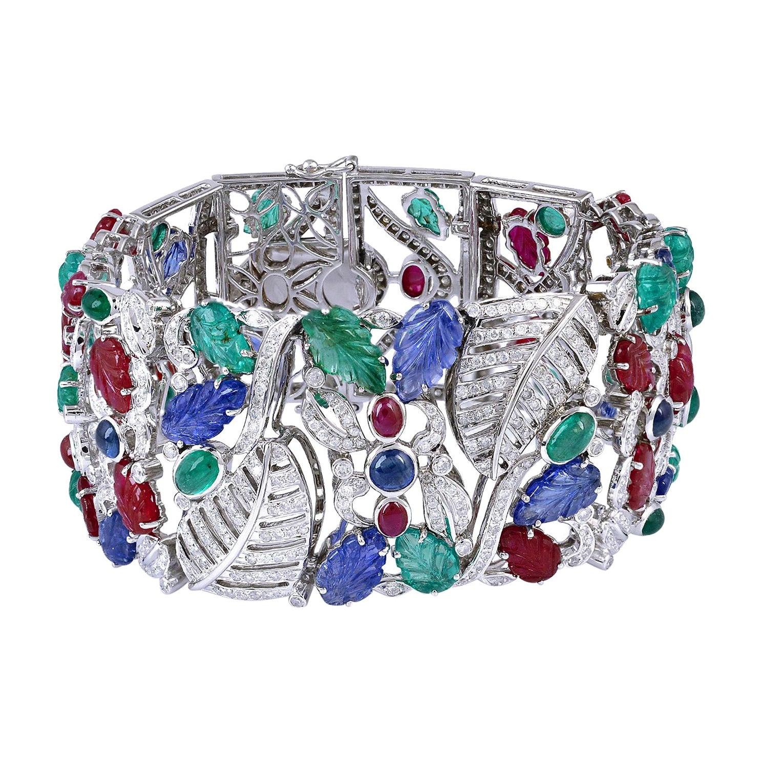 Carved Emerald Ruby Sapphire Diamond 18K Gold Bracelet Cuff