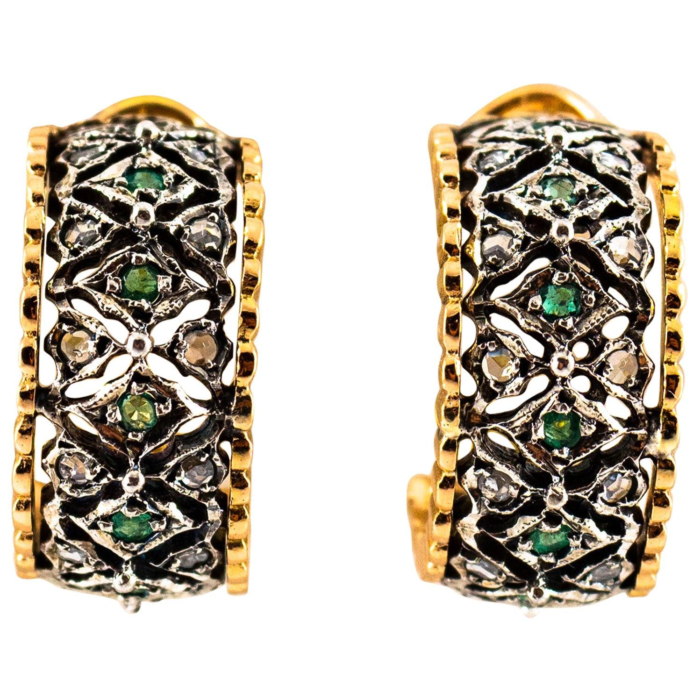 1.30 Carat White Rose Cut Diamond Emerald Yellow Gold Dangle Clip-On Earrings