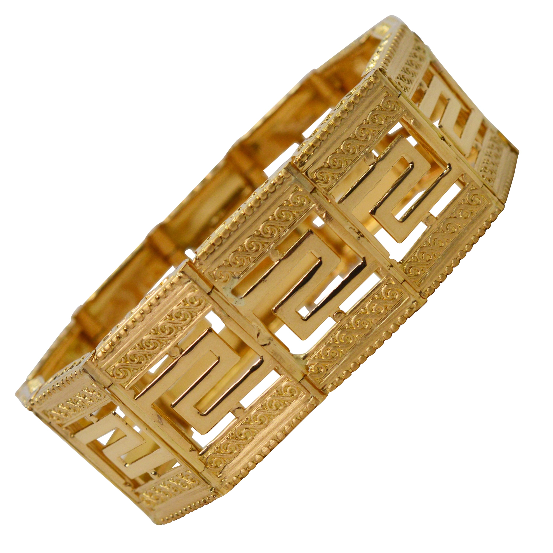 Geometric 18 Karat Yellow Gold Tile Link Bracelet