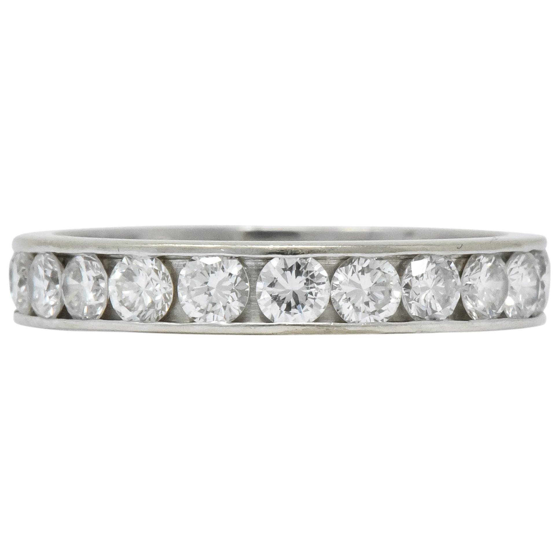 Modern 1.61 Carat Diamond 14 Karat White Gold Eternity Stack Band Ring
