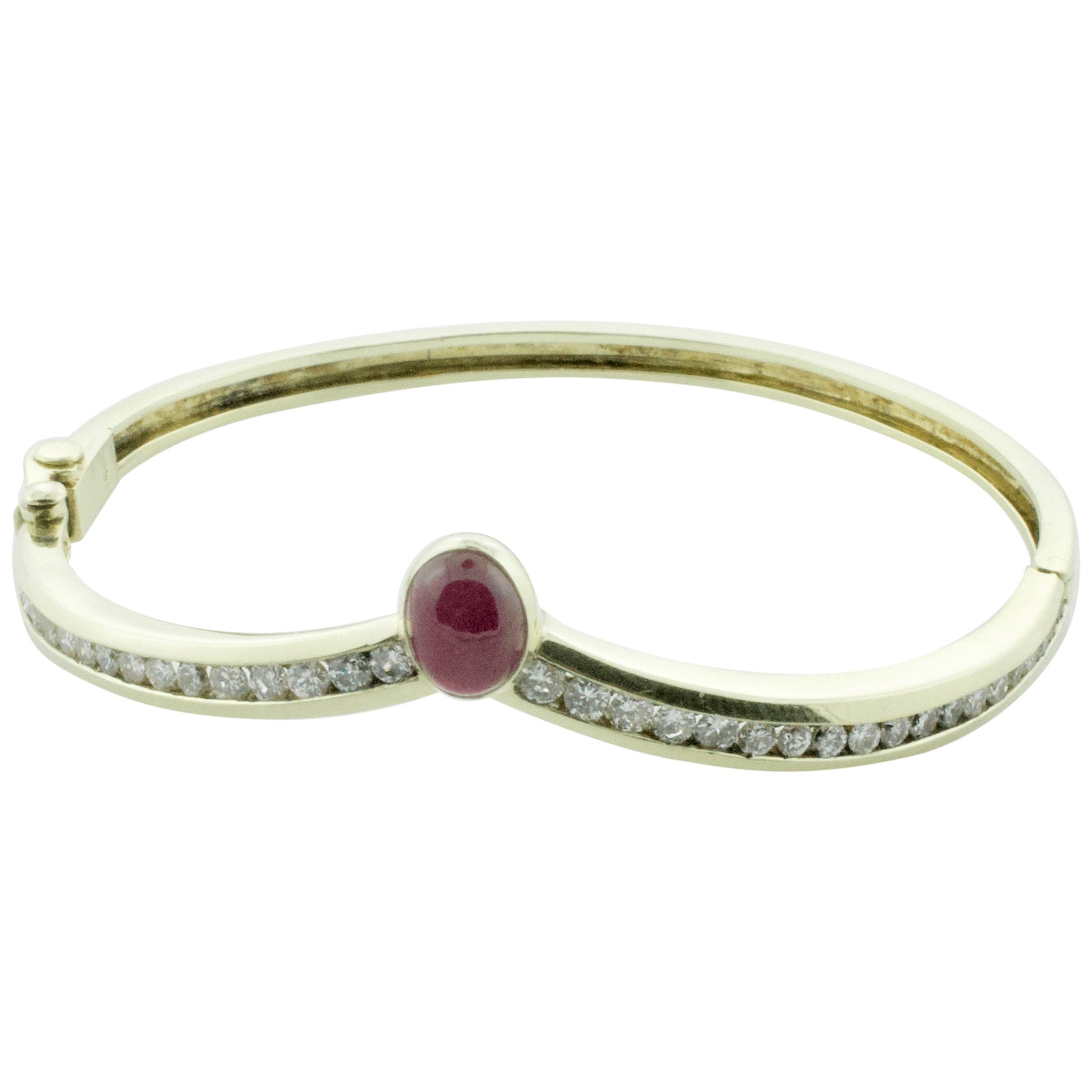 Cabochon Ruby and Diamond Bangle Bracelet Large Size Ruby 2.50 Carat