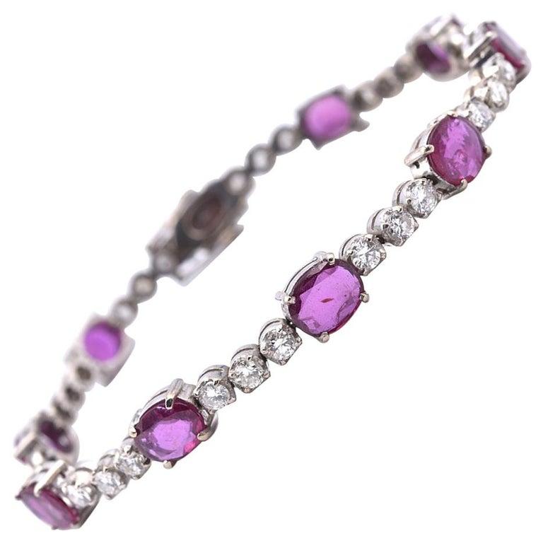14 Karat White Gold Diamond and Ruby Bracelet For Sale