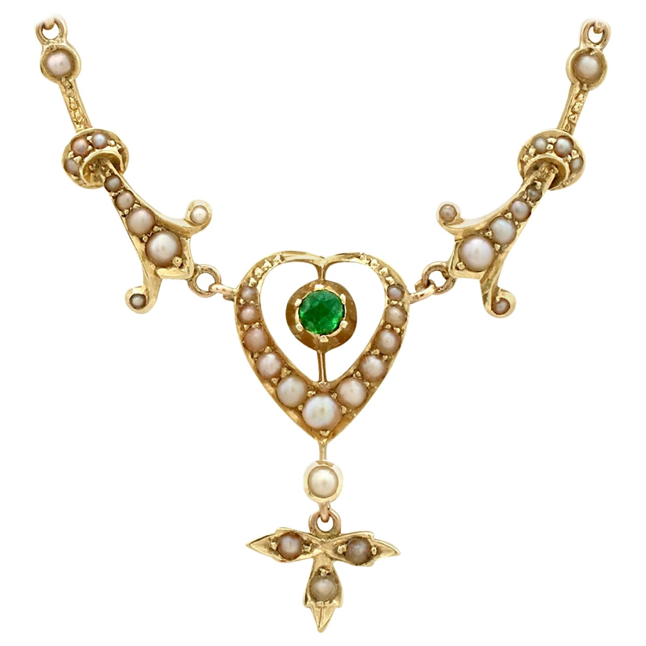 Antique 1890s Peridot and Seed Pearl Yellow Gold Necklace