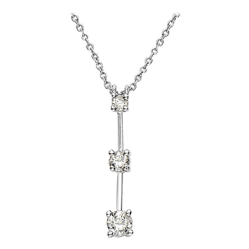 14 Karat White Gold 3 Diamond Pendant Necklace