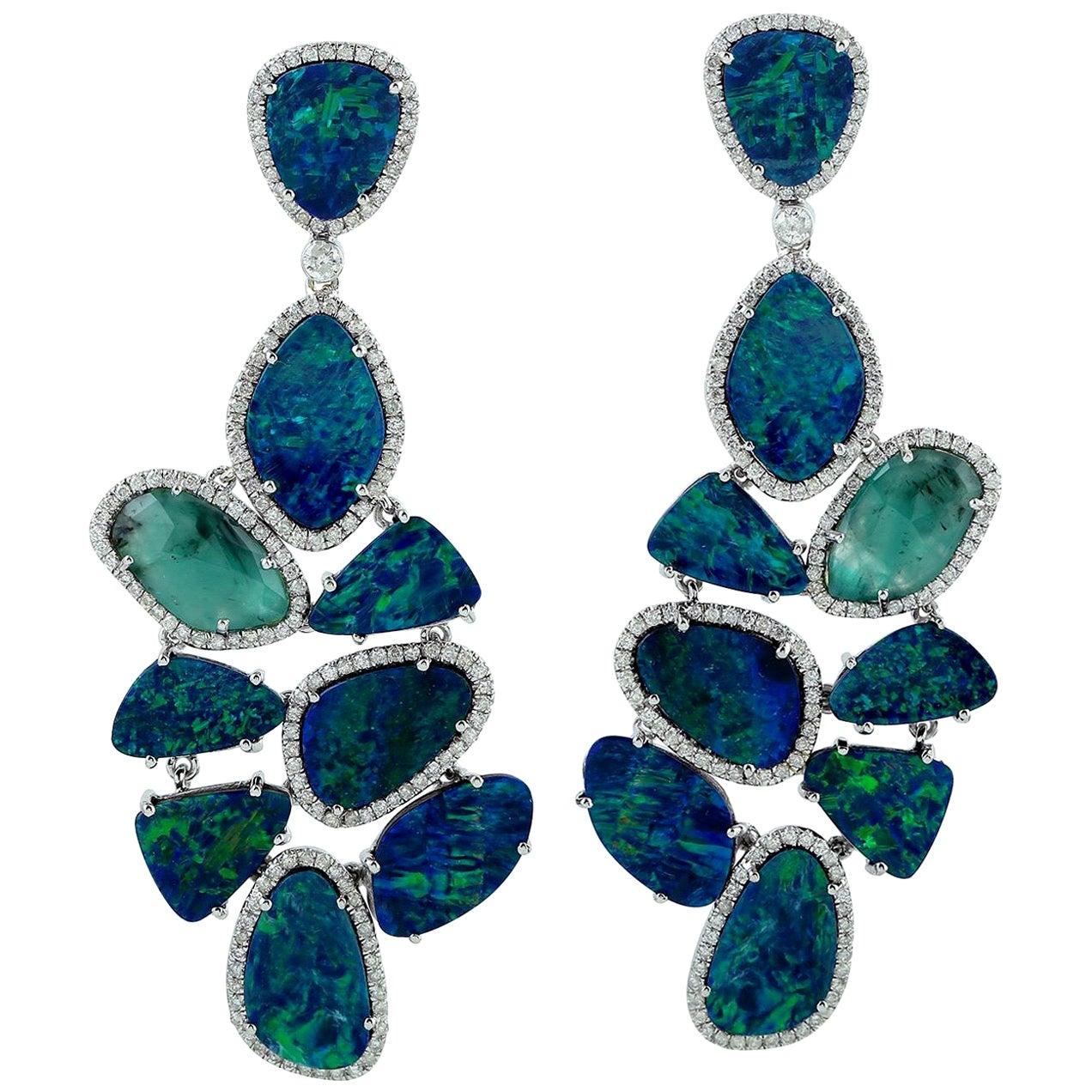 22.57 Carat Opal Emerald Diamond 18 Karat Gold Earrings