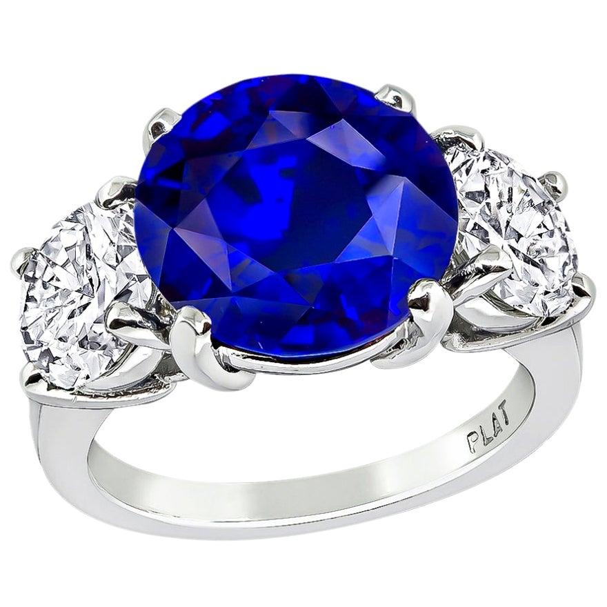 Certified 5.03 Carat Ceylon Sapphire GIA Diamond Platinum Ring