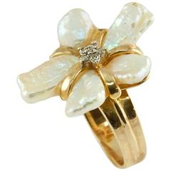 Modernist Freeform Pearl Petals Diamond Gold Cluster Ring