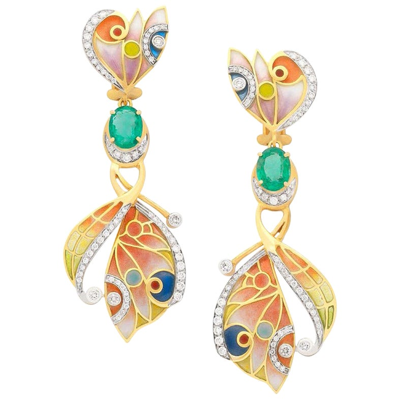 Masriera 18KT Gold Enamel Earrings with 2.48Ct. Emeralds and .88Ct. of Diamonds