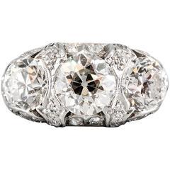 Art Deco Diamond Platinum Three-Stone Ring