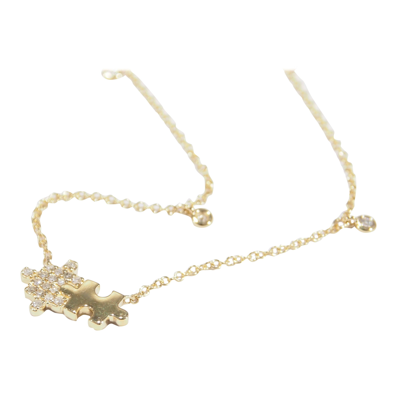 18 Karat Diamond Puzzle Necklace Yellow Gold 0.10 Carat