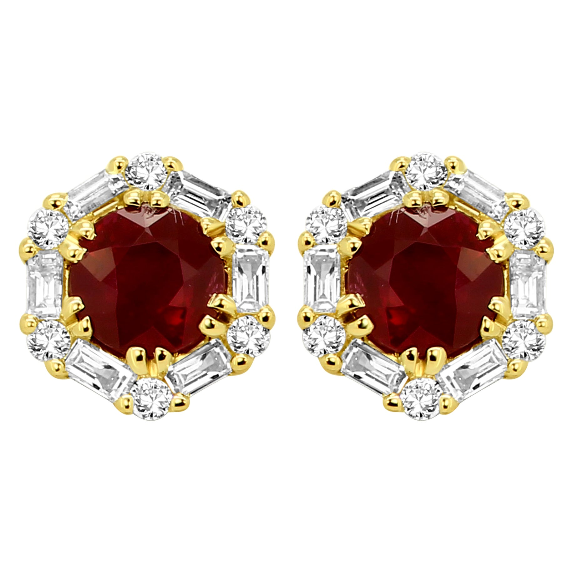 Ruby Round White Diamond Halo Yellow Gold Fashion Stud Earring