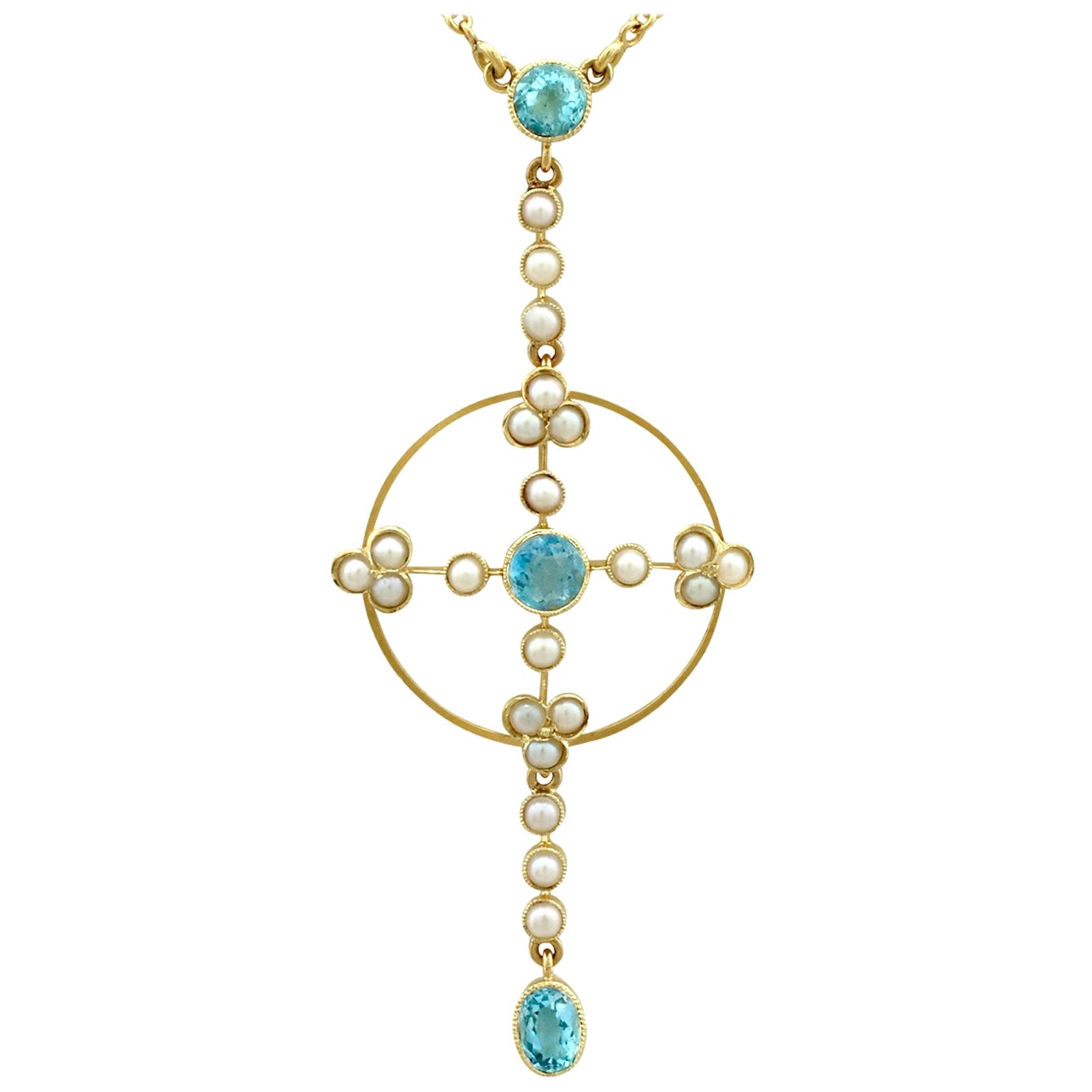 Antique Victorian Aquamarine and Pearl Yellow Gold Pendant, circa 1890