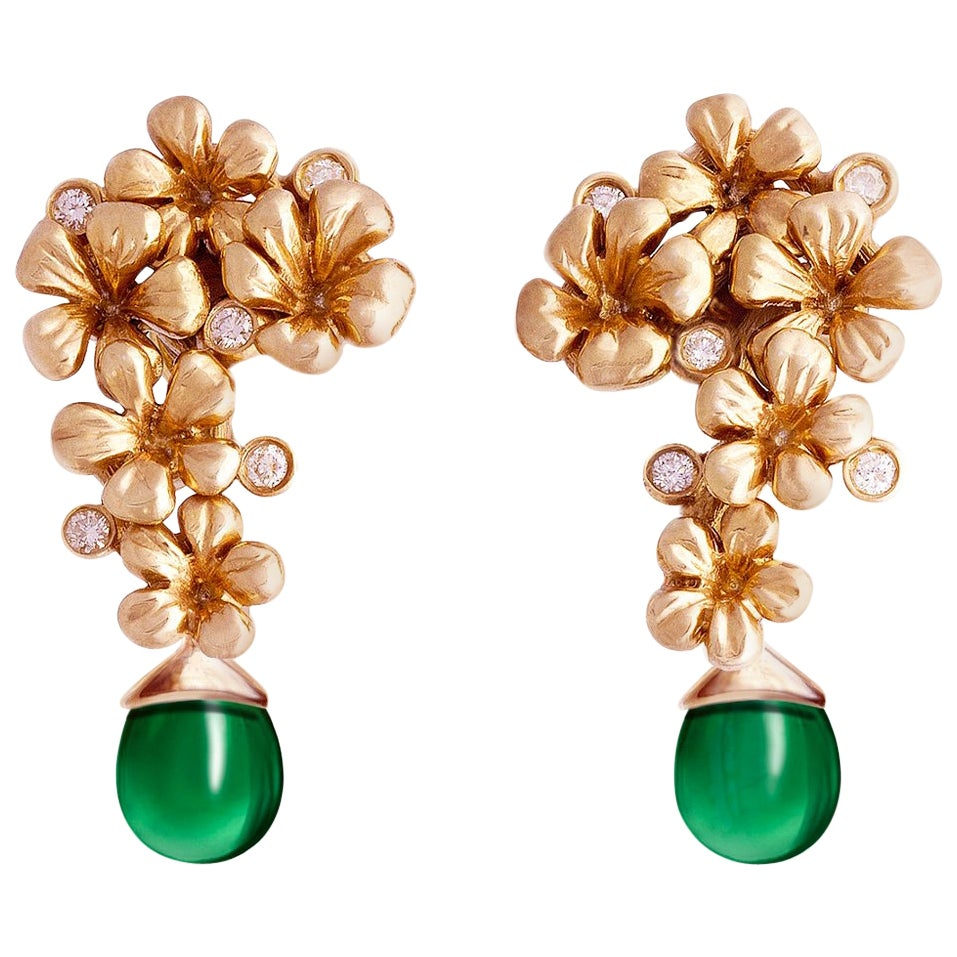 14 Karat Rose Gold Plum Blossom Earrings 0.3 Carat Diamonds by The Artist