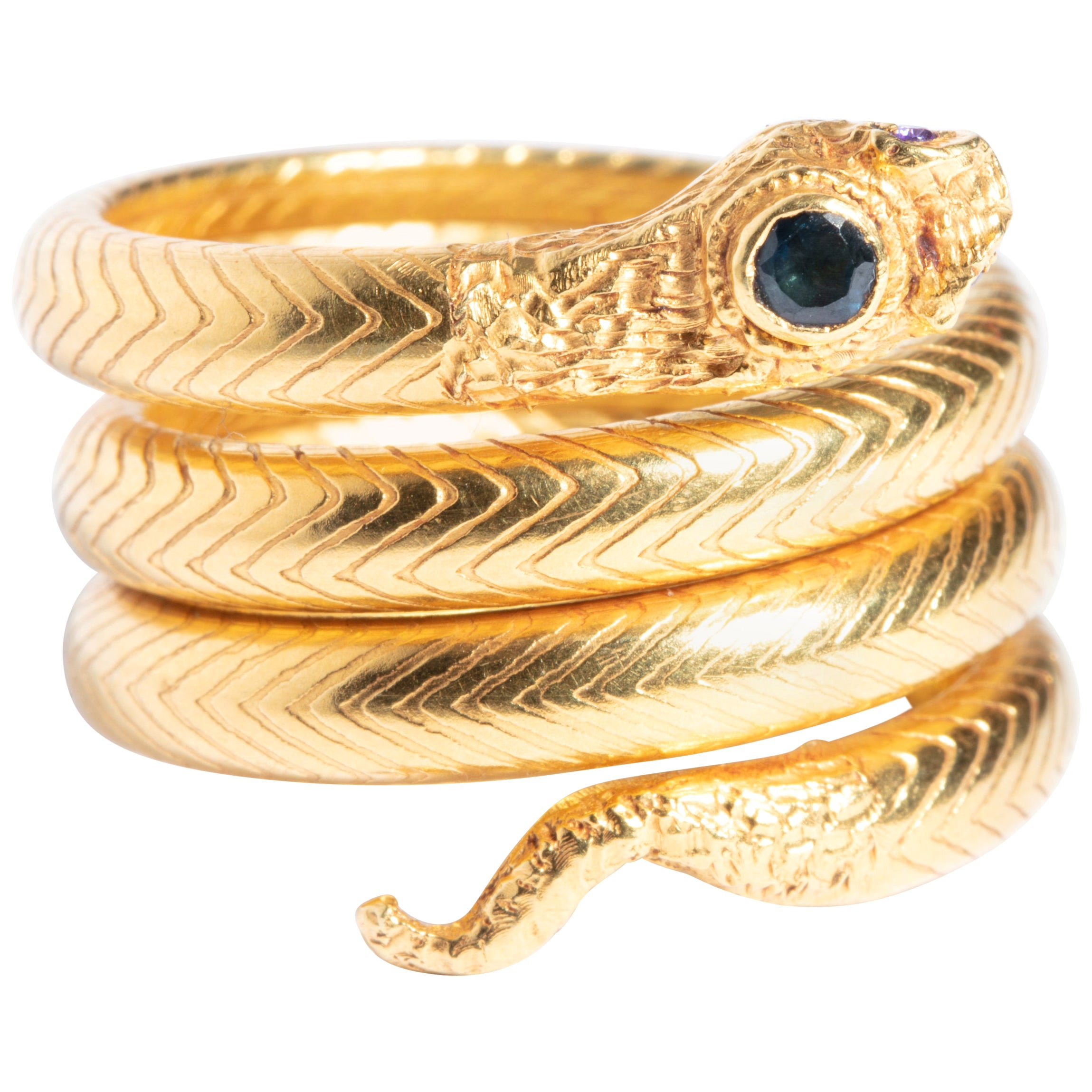 22 Karat Gold Snake Cocktail Ring with Sapphires and Diamonds