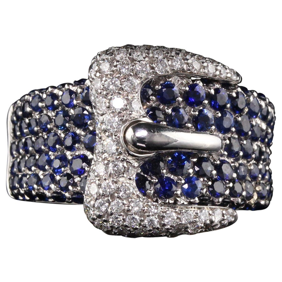 Vintage Estate 18 Karat White Gold Diamond and Sapphire Buckle Ring