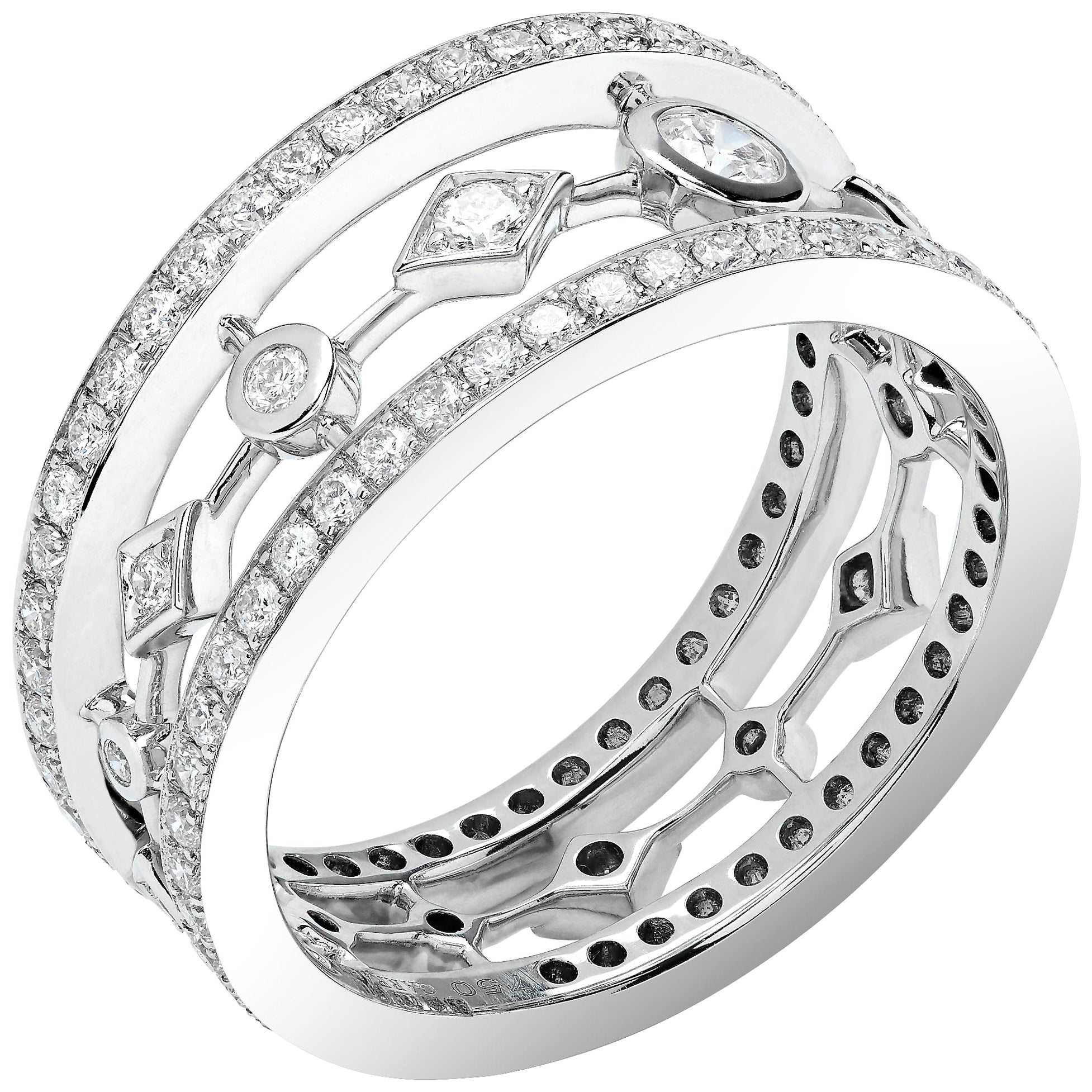 Garrard 'Fanfare' 18 Karat White and Gold White Diamond Ring