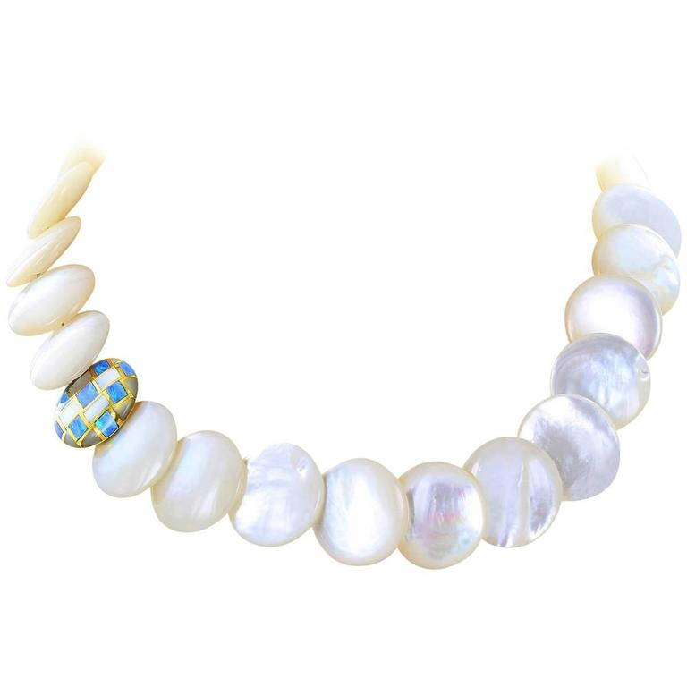 Tiffany & Co. Mother-of-Pearl Opal Gold Necklace