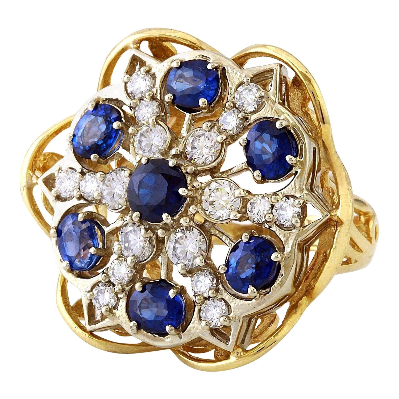 7.50 Carat Sapphire 18 Karat Solid Yellow Gold Diamond Ring
