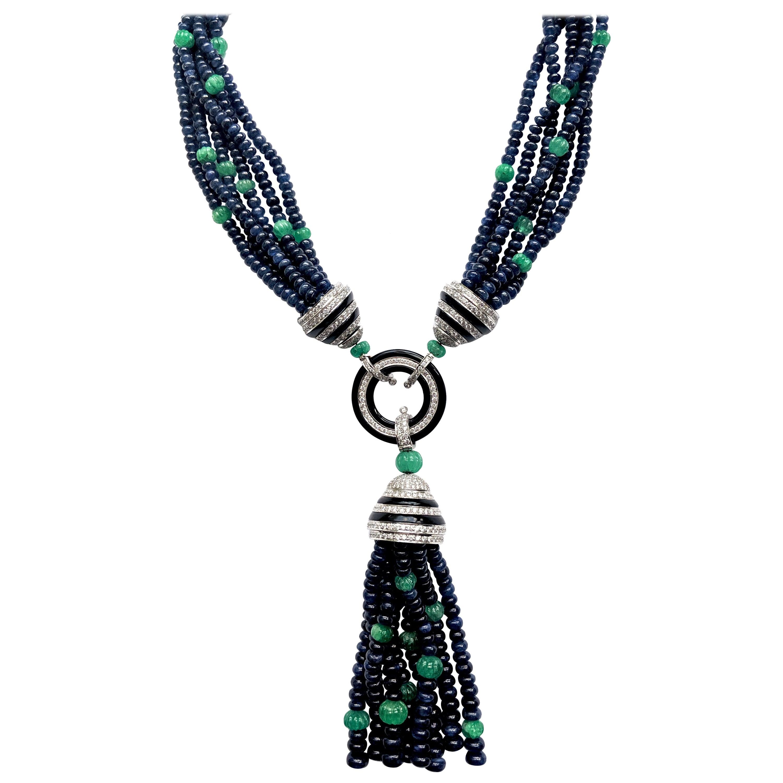 Art Deco Style Sapphire, Emerald, Onyx and Diamond Necklace
