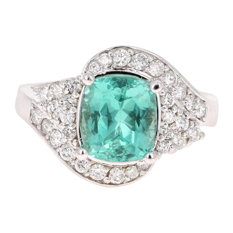 3.03 Carat Cushion Cut Apatite Diamond 14 Karat White Gold Engagement Ring