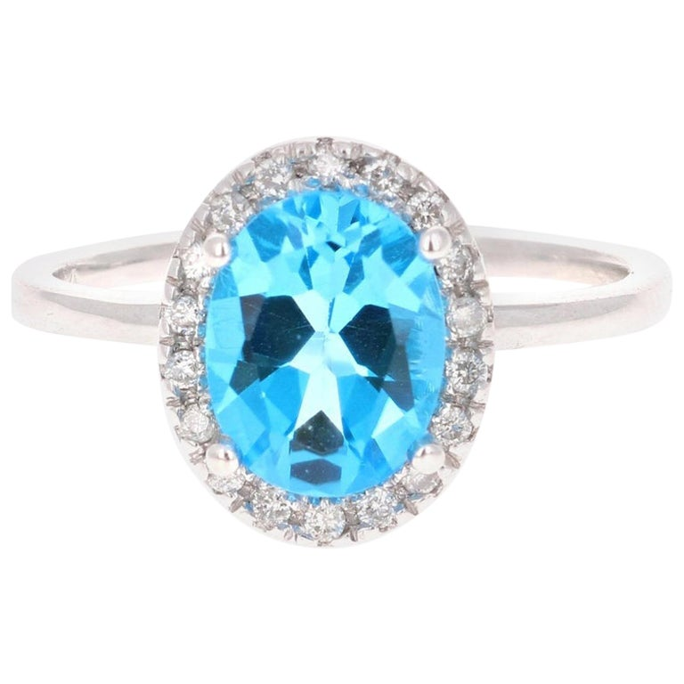 2.30 Carat Blue Topaz Diamond White Gold Cocktail Ring