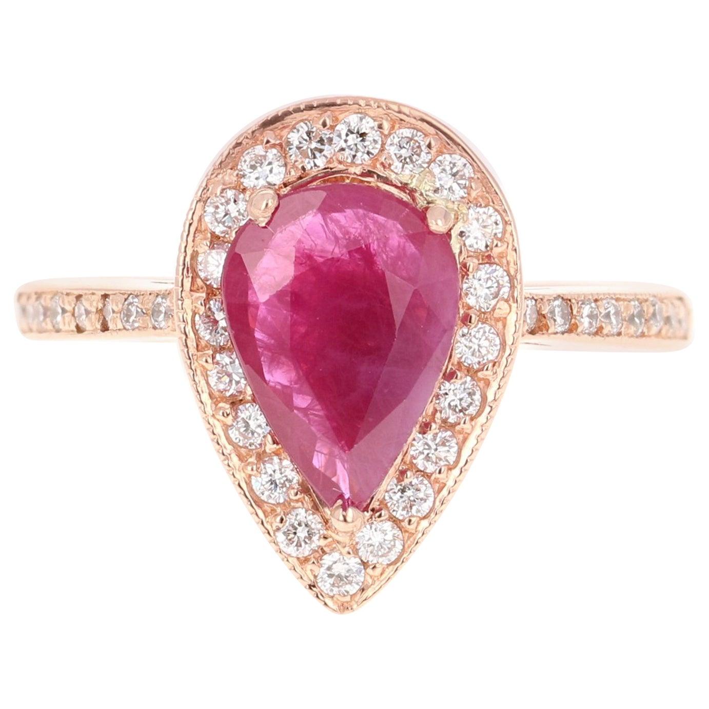 2.24 Carat Pear Cut Ruby Diamond 18 Karat Rose Gold Engagement Ring