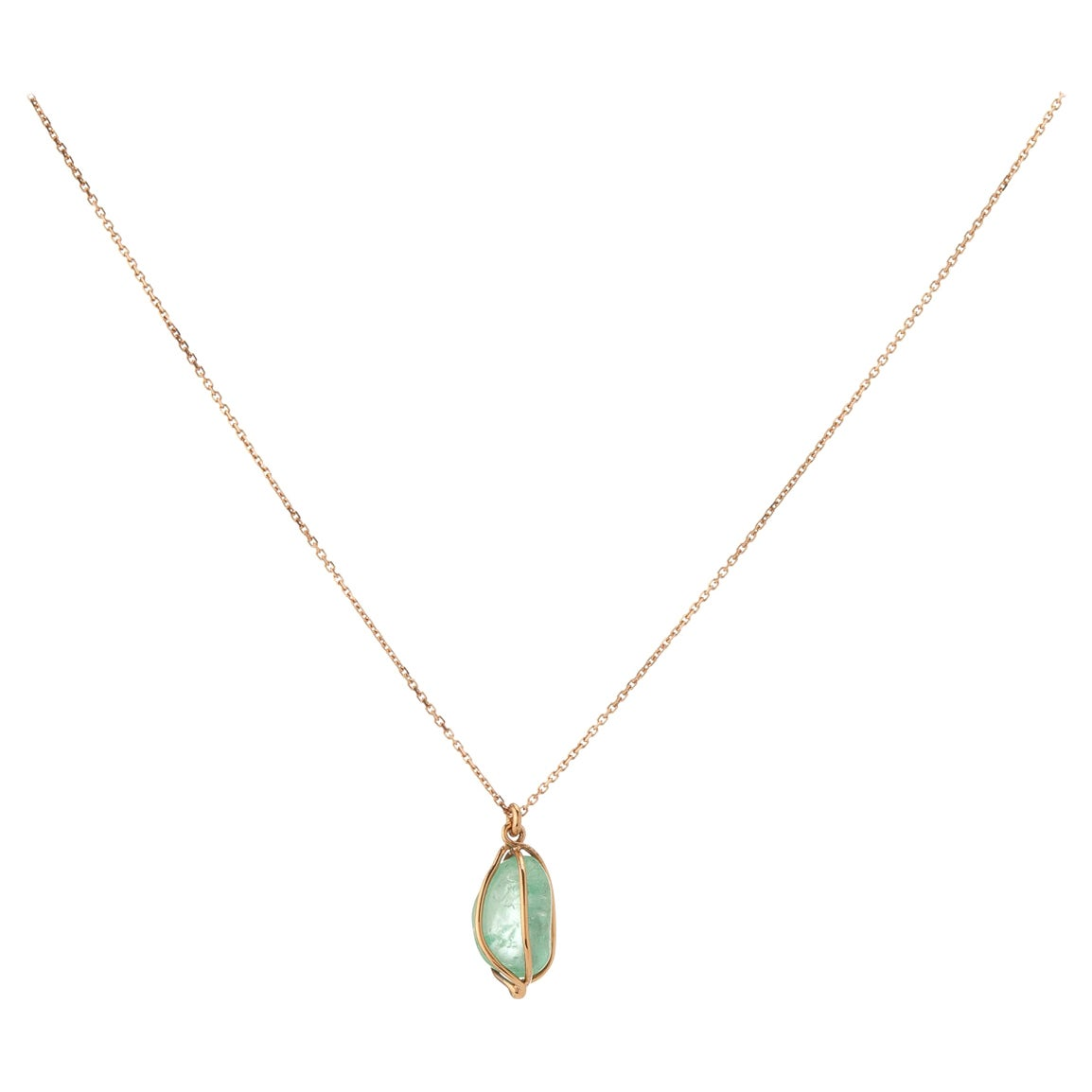 Muzo Emerald Colombia Emerald 18K Pink Gold drop Necklace