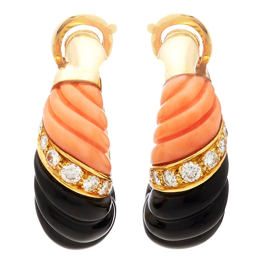French Coral Onyx Diamond Earrings