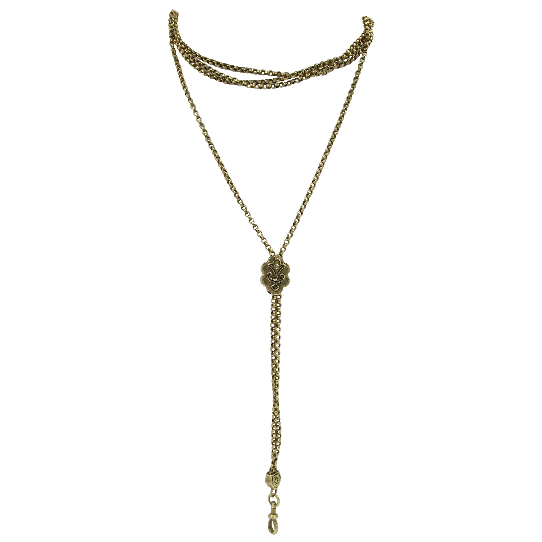 Victorian 14 Karat Gold Chain Necklace Enamel Slide Dog Clip
