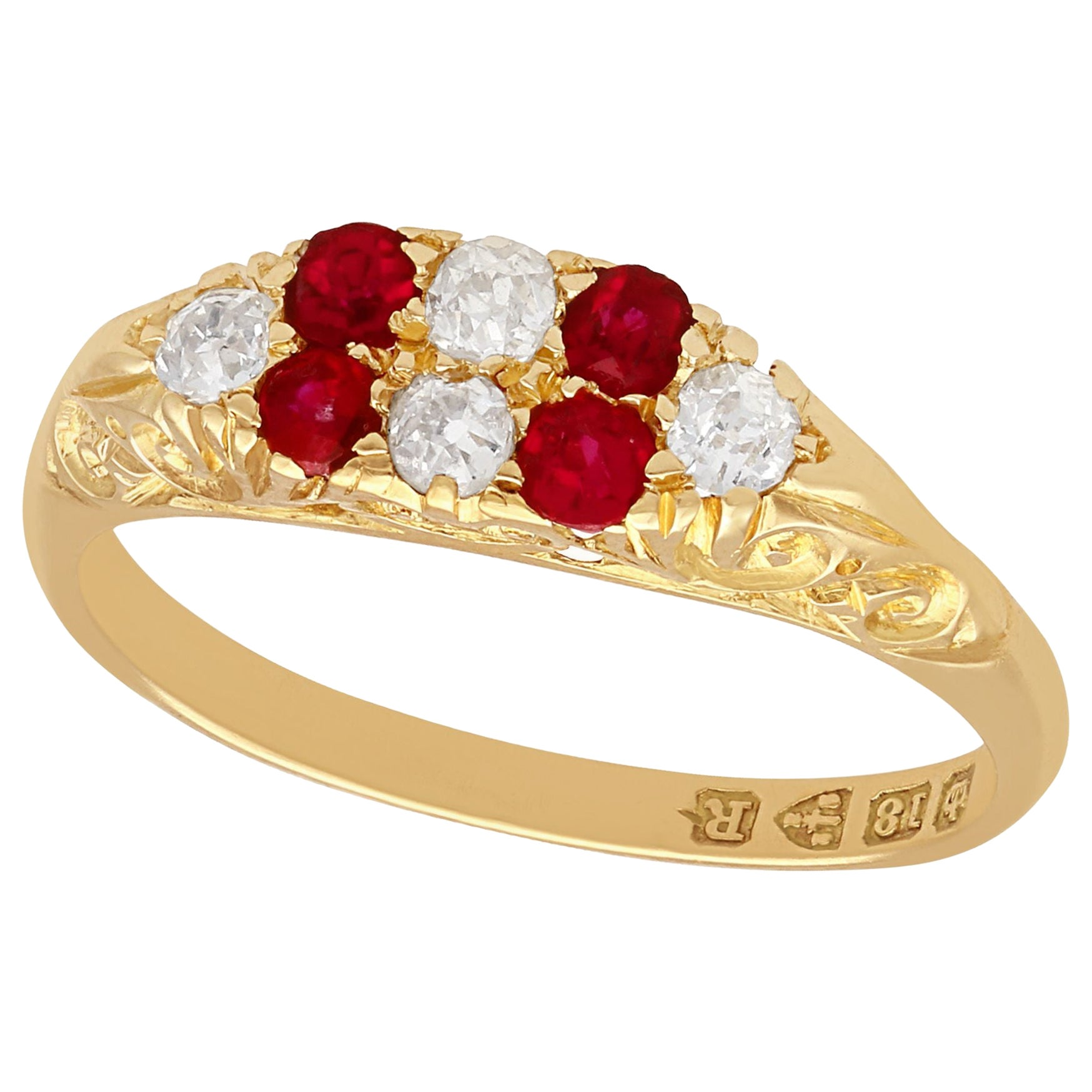 1900s Antique Ruby and Diamond Yellow Gold Cocktail Ring