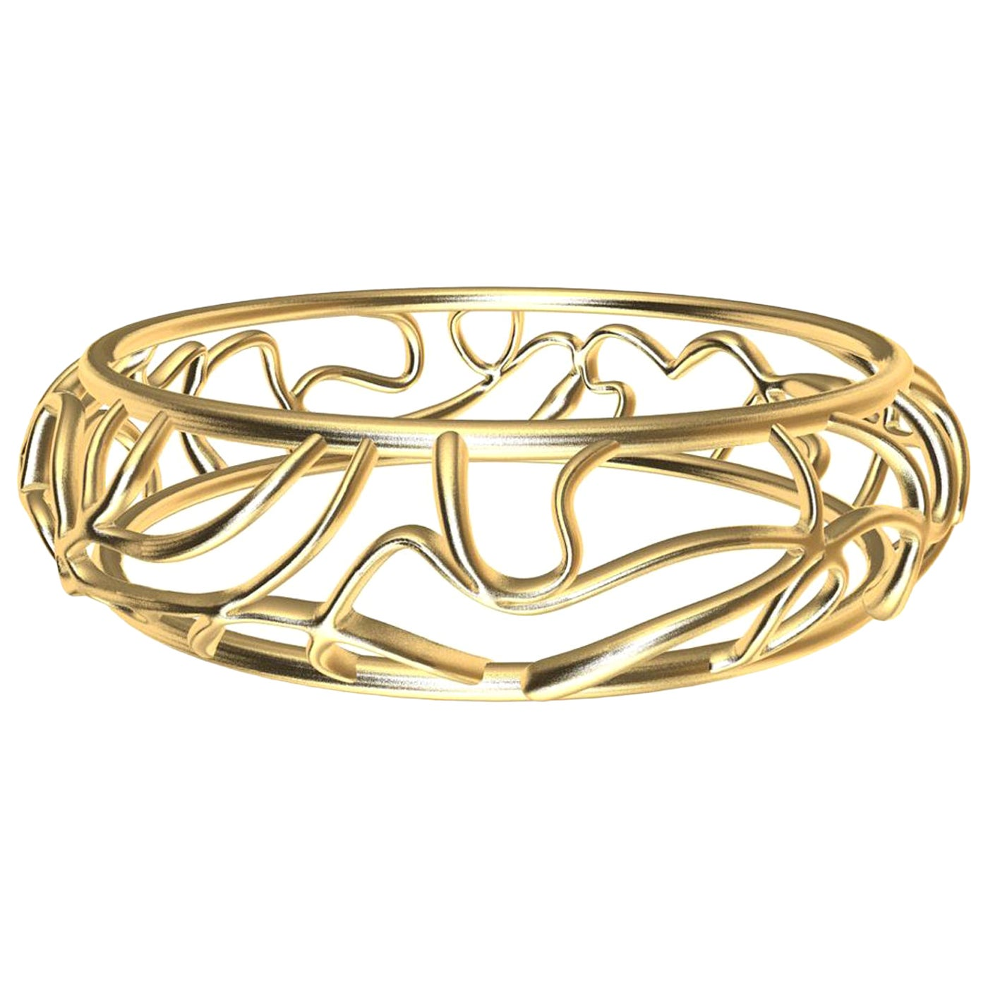 14 Karat Yellow Gold Oceans Bangle