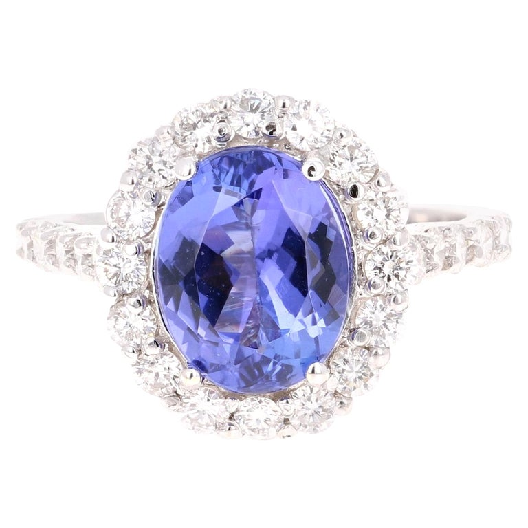 3.96 Carat Tanzanite Diamond 14 Karat White Gold Cocktail Ring