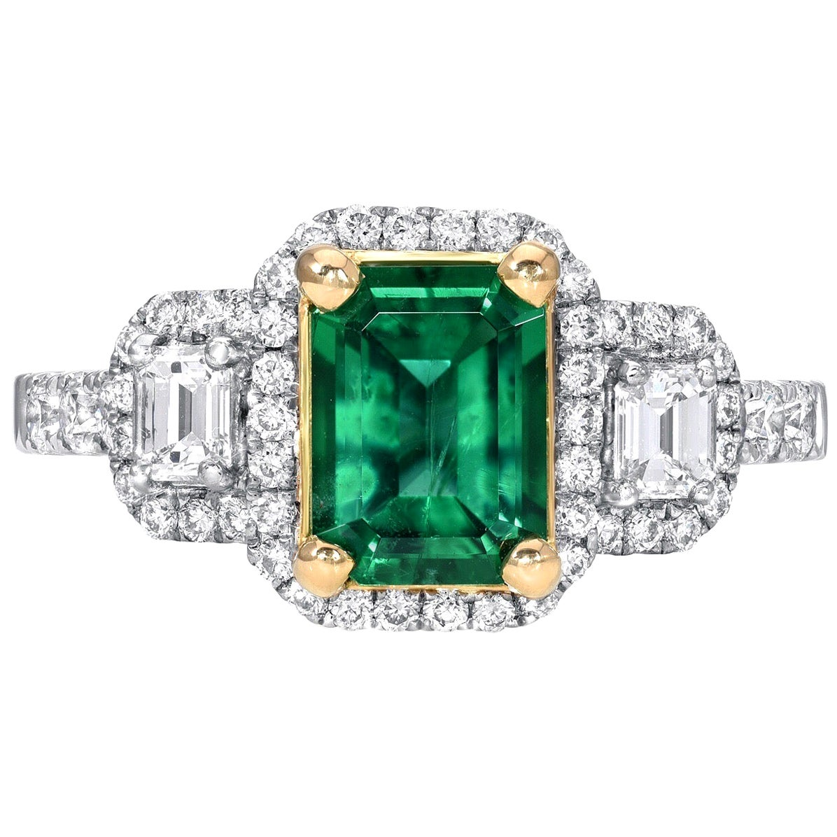 Emerald Ring 1.24 Carat Emerald Cut