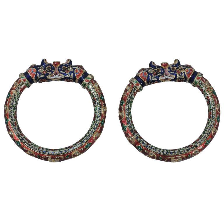 Pair of Enamel Gold Jaipur Indian Bangle Bracelets