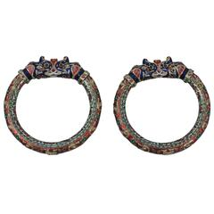 Pair of Enamel Gold Jaipur Indian Bangle Bracelets