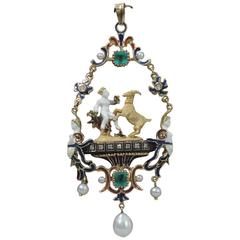 Renaissance Revival Gold and Enamel Pendant with Pearls and Emeralds